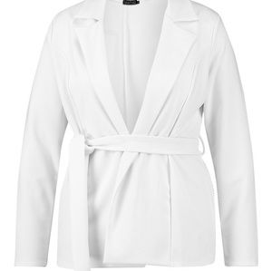 Plus White Belted Blazer